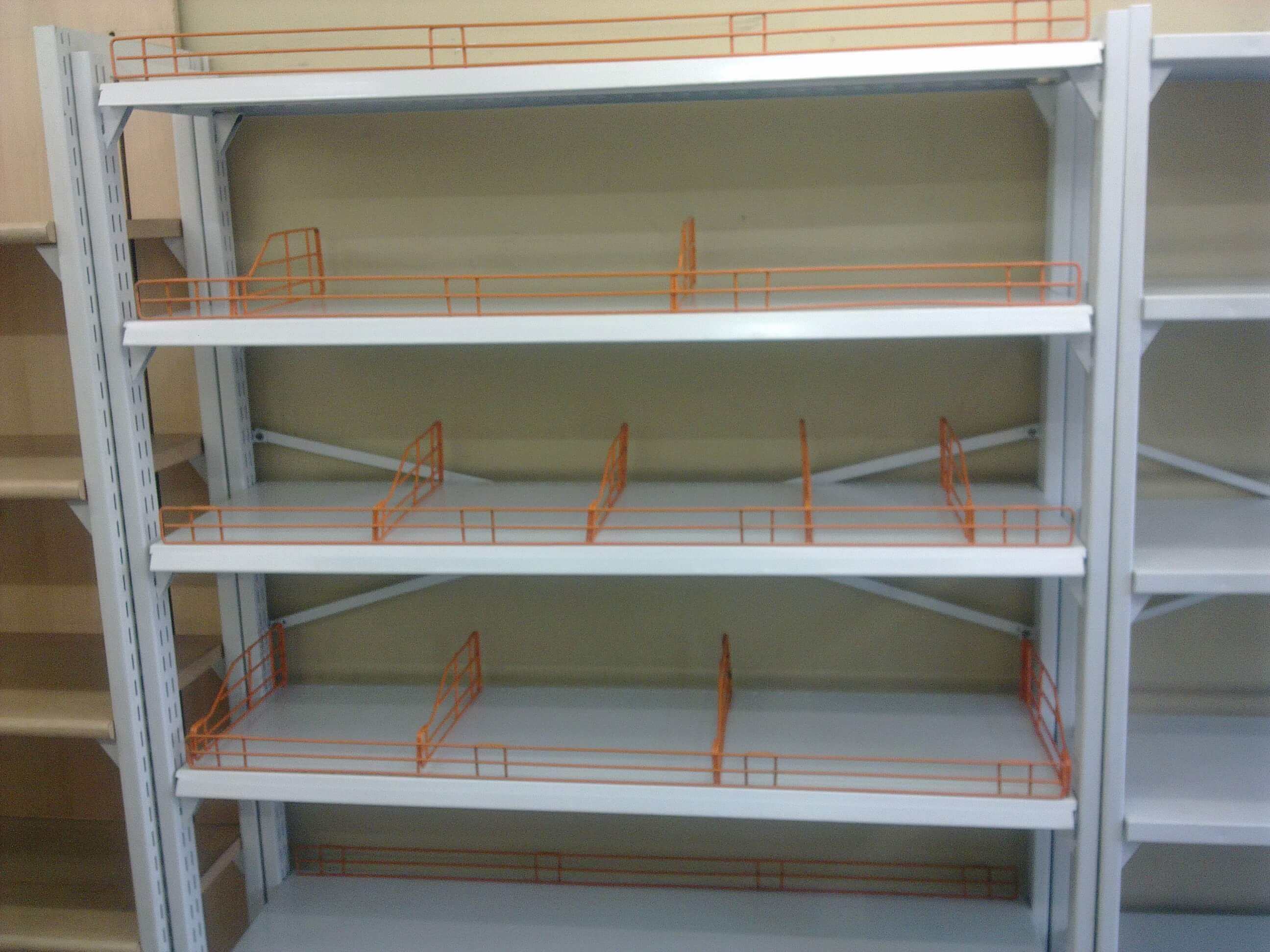 four pole rack / super market / self standing racks /center cantilever rack / back to back  cantilever rack /perforated sheet racks / pharmacy racks / medicine racks / four pole flexible rack